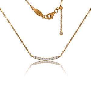 NT-3/R - Chain Necklace with Cubic Zirconia Bar and Sliding Size Adjuster