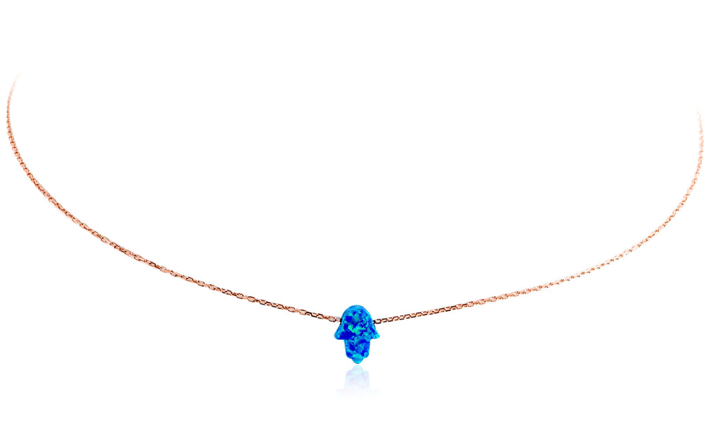 NK-510/R - Blue Opal Hamsa Necklace.