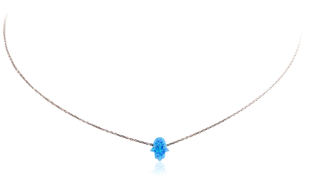 NK-510/S - Blue Topaz Hamsa Necklace