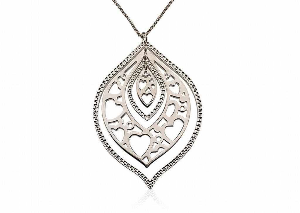 NX-23/S - Large sterling silver leaf pendant necklace.
