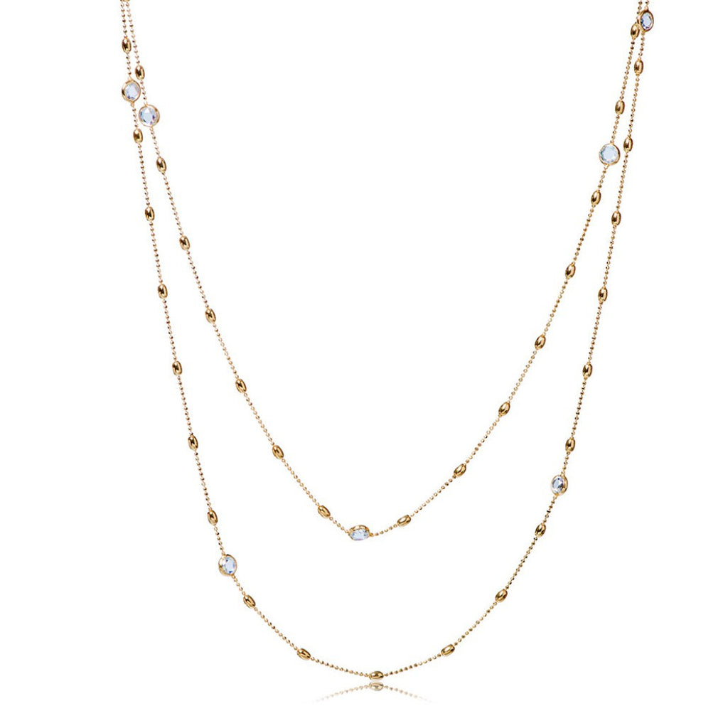 NZ-350/G - Long Chain Necklace with cubic zirconia.
