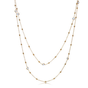 NZ-350/G - Long Chain Necklace with Cubic Zirconia