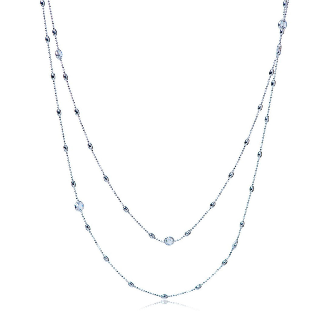 NZ-350/S - Long sterling silver chain necklace with cz decoration.