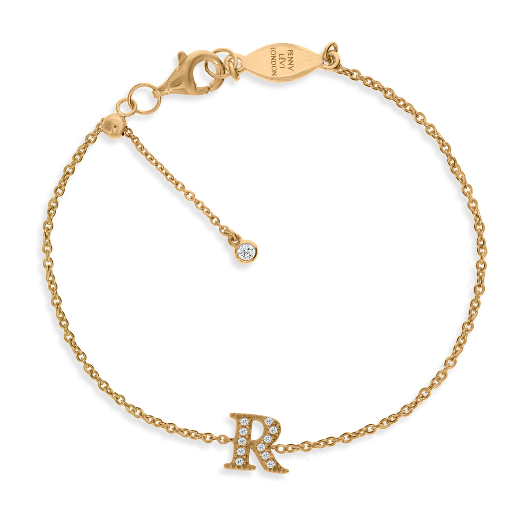 "BT-26/G/R - Initial ""R"" Bracelet adjustable length.(NEW)"