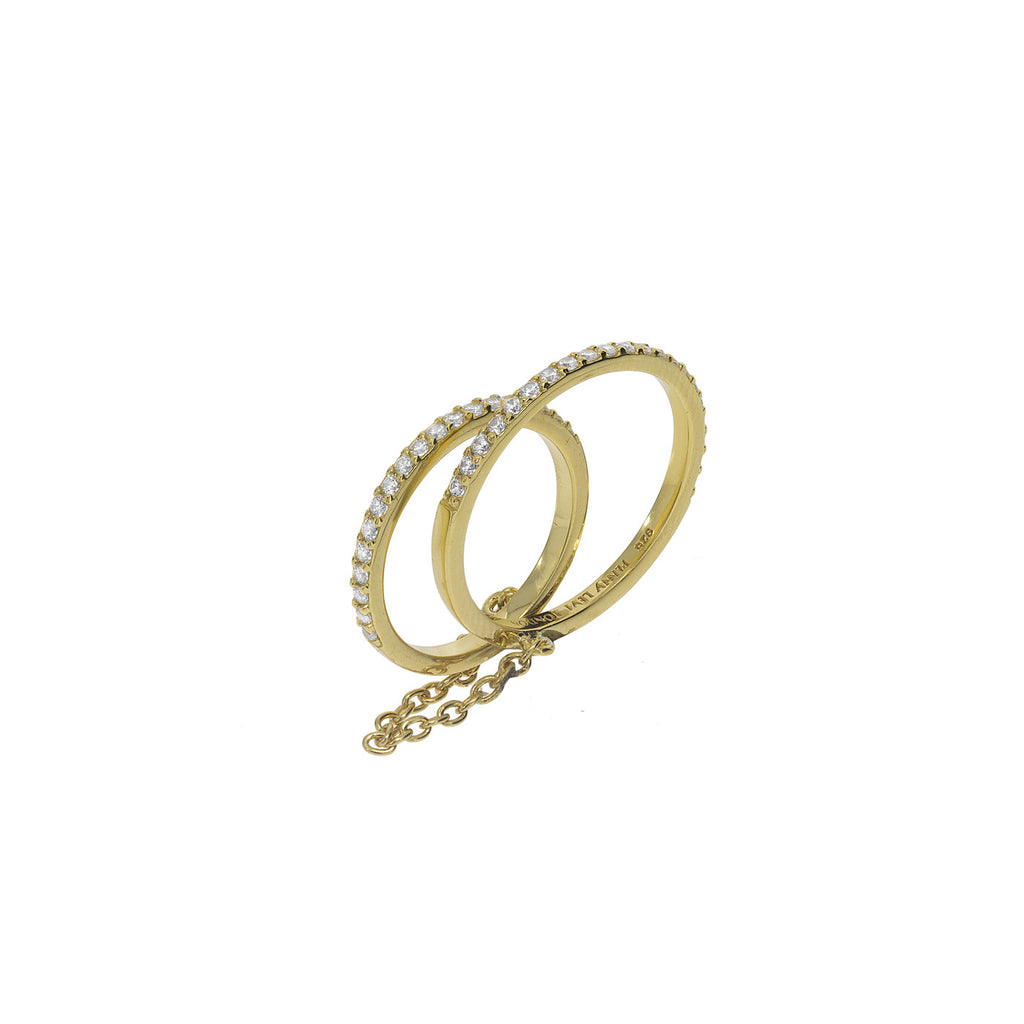 RT-10/G - Single pave band ring with single pave band finger ring attached by a chain.(NEW)