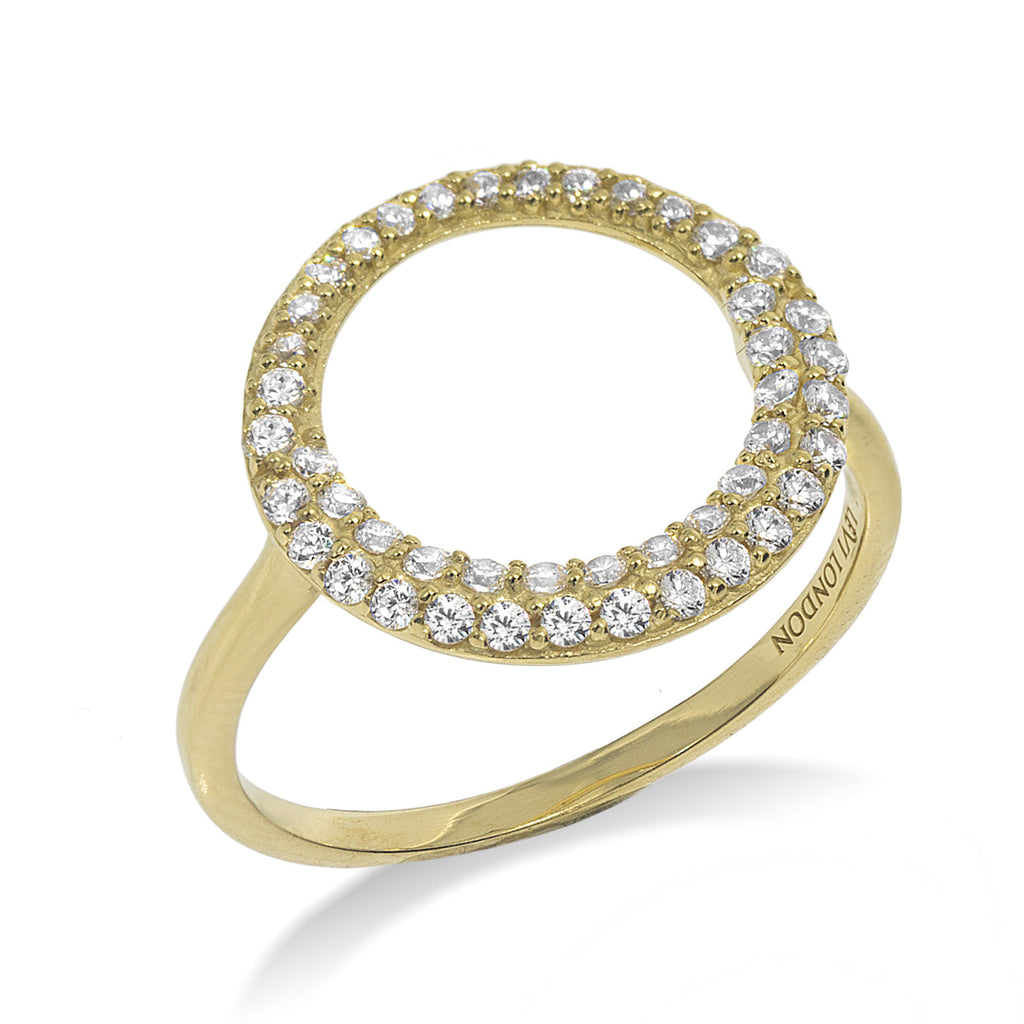 RT-11/G - Open Circle Ring with double row of small CZ surrounding the open circle (NEW)