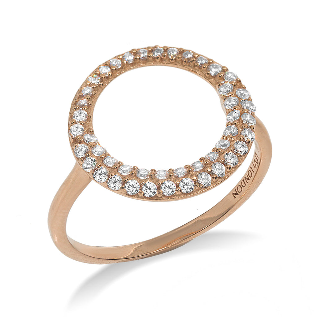RT-11/R - Open Circle Ring with double row of small CZ surrounding the open circle (NEW)