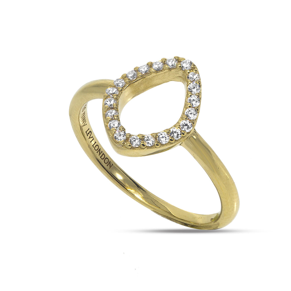RT-13/G - Open oval ring rimmed with cubic zirconia.(NEW)