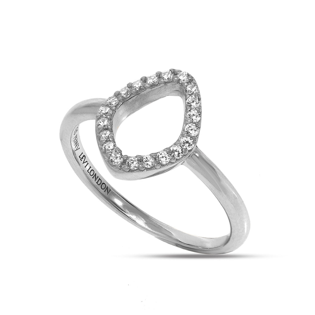 RT-13/S - Open oval ring rimmed with cubic zirconia.(NEW)