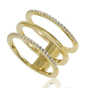 RT-3/G - Three Hoop Ring with CZ Decoration