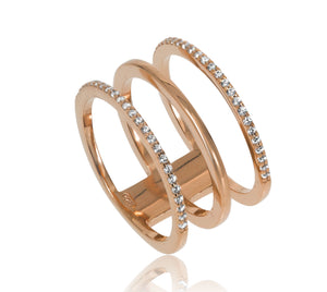 RT-3/R - Three Hoop Ring with CZ Decoration