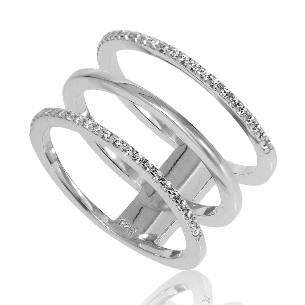 RT-3/S - Three hoop ring with CZ decoration (NEW)