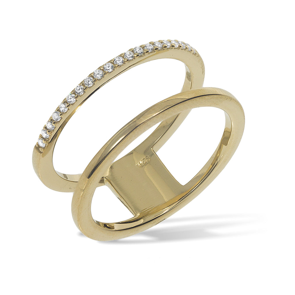 RT-4/G - Double band ring, one band with cz decoration.(NEW)