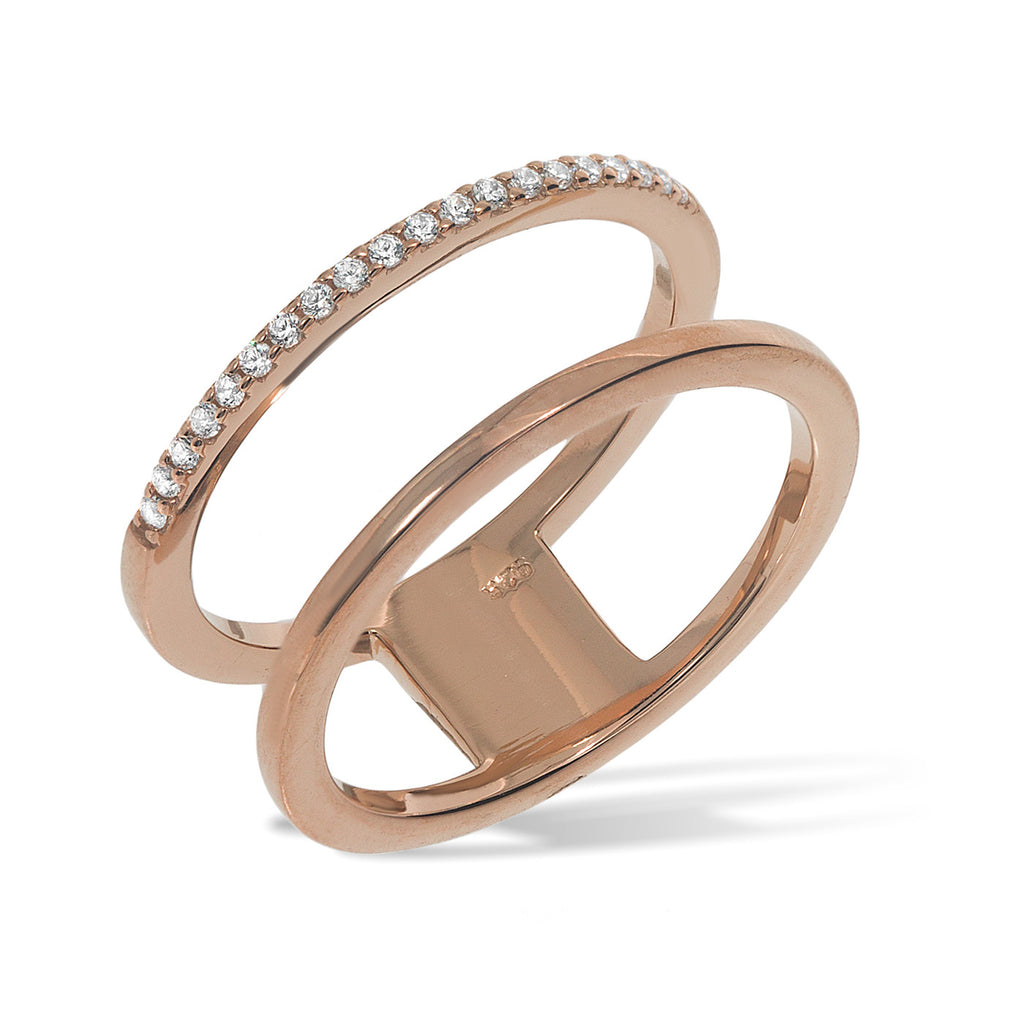 RT-4/R - Double band ring, one band with cz decoration.(NEW)