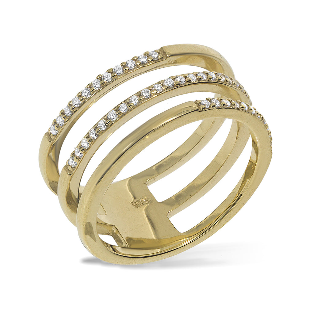 RT-5/G - Three band (joined) half pave ring.(NEW)
