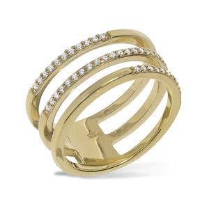 RT-5/G - Three Band (joined) Half Pave Ring