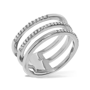 RT-5/S - Three Band (joined) Ring Half Pave