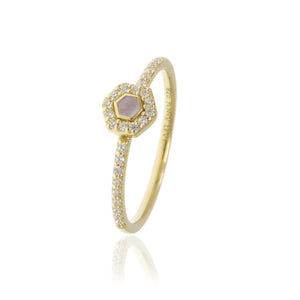 RT-9/G - Pave Ring with Pink Center Stone