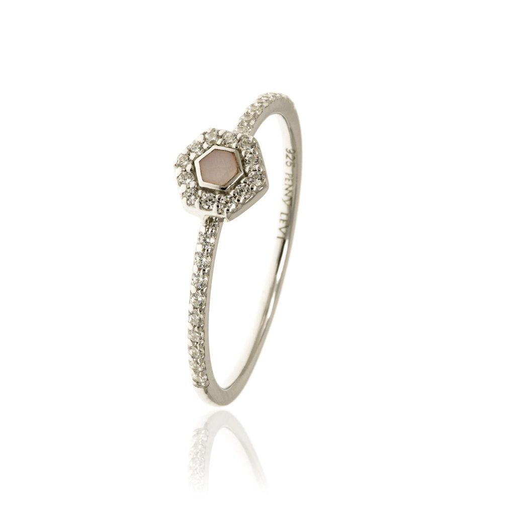 RT-9/S - Pave Ring with Pink Center Stone