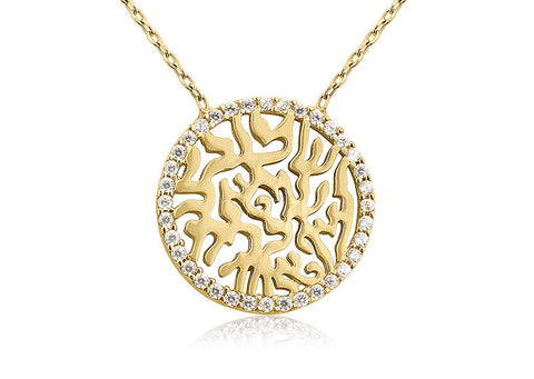 NT-100/G - Gold circle of life pendant adjustable length rimmed with cubic zirconia.