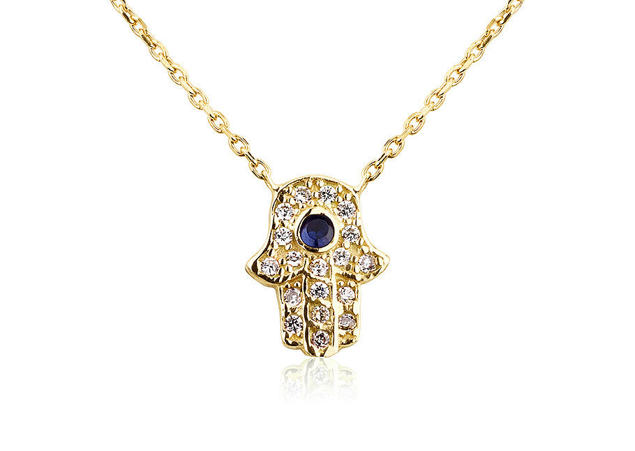 NS-201/G - Gold Pave Hamsa Pendant with blue center stone.