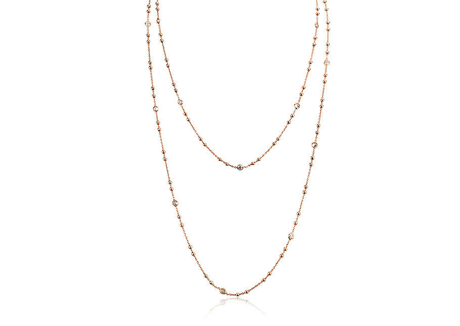 NX-410/G - Cubic zirconia bobble and chain necklace.