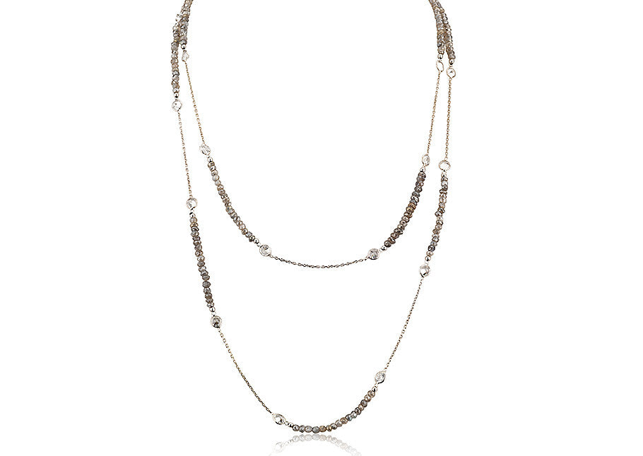 NS-4002/S - Labradorite and silver necklace