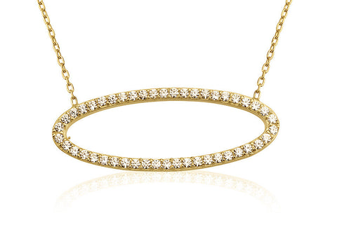 NS-700/G - Gold chain and cz pave oval pendant