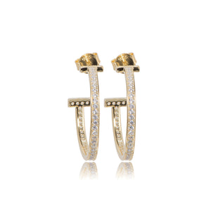 EYJ-80/G - T earrings Set with Cubic Zirconia