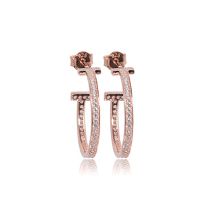 EYJ-80/R - T earrings Set with Cubic Zirconia