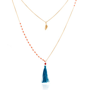 NME-12/G/CORAL - Coral and Chain Necklace with Tassel