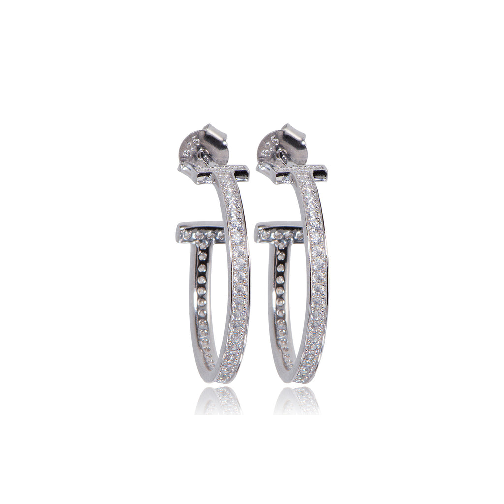 EYJ-80/S - T hoop earrings set with Cubic Zirconia.