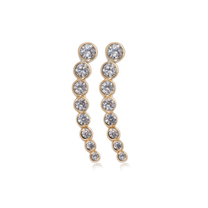 EK-55/G - Cubic Zirconia Climber Earrings