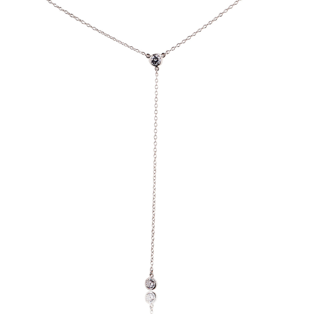 NK-61/S -  Adjustable chain lariat necklace with Cubic Zirconia
