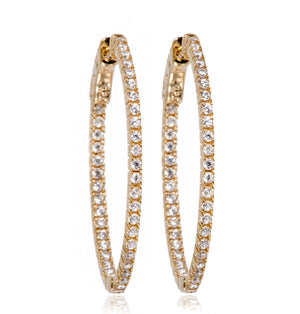 EH-90/G - Large Hoop Cubic Zirconia Earrings