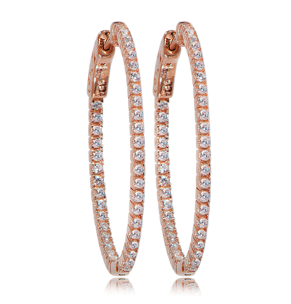 EH-90/R - Large hoop Cubic Zirconia Earrings