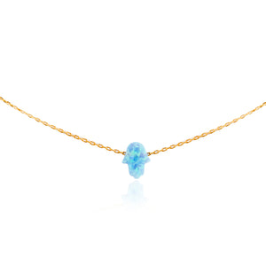 NK-510/G -  Blue Opal Hamsa Necklace.