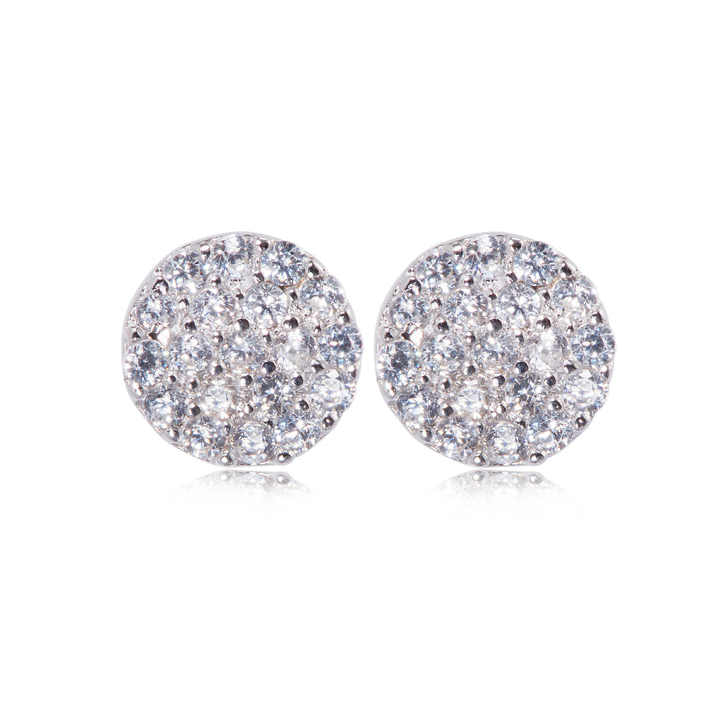 EK-47/S - Small round pave disc earrings