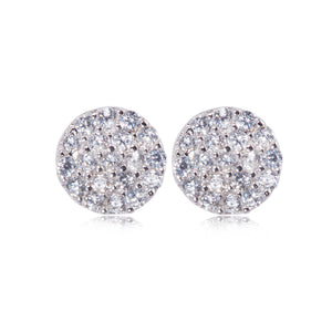 EK-47/S - Small Round Pave Disk Earrings