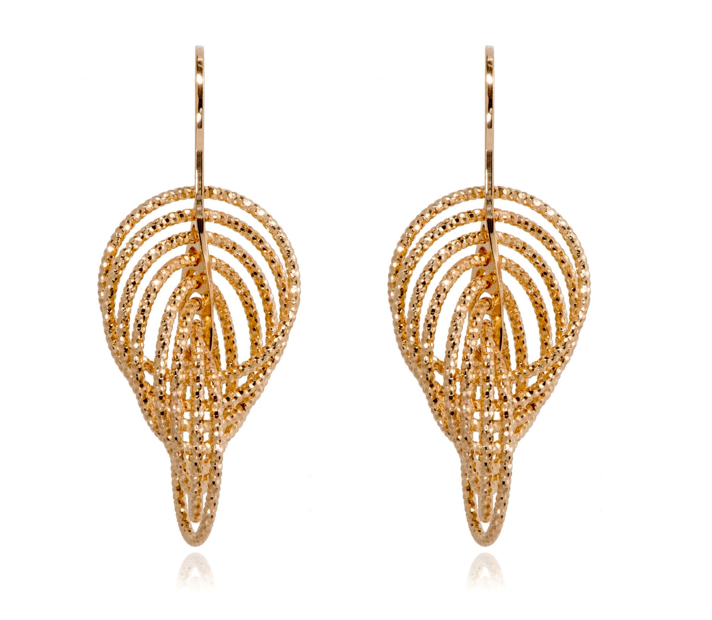 EX-032/G - Large multi hoop intertwined diamond cut earrings. Made in Italy.