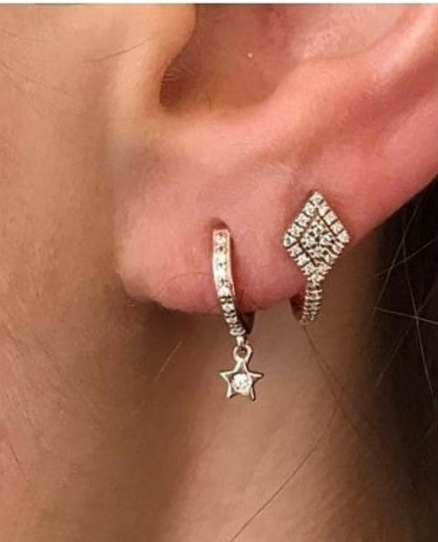 ET-23/S - Diamond Shaped Ear Cuffs Set with Cubic Zirconia (can be bought singly or as a pair)