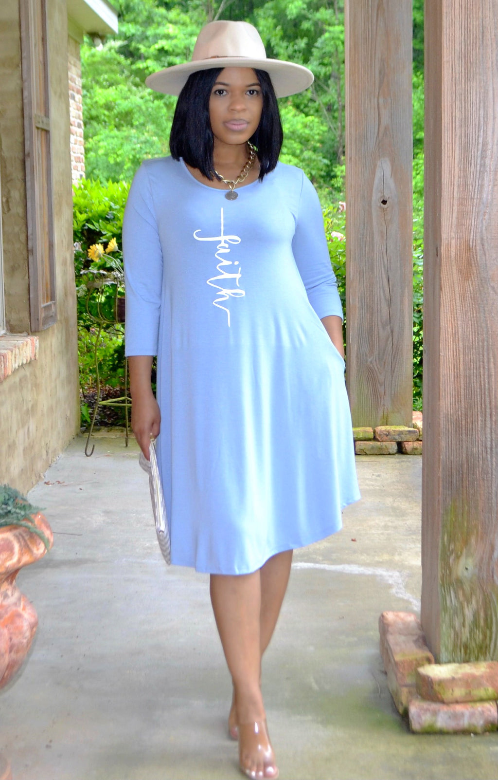 Faith Swing Dress- Powder Blue