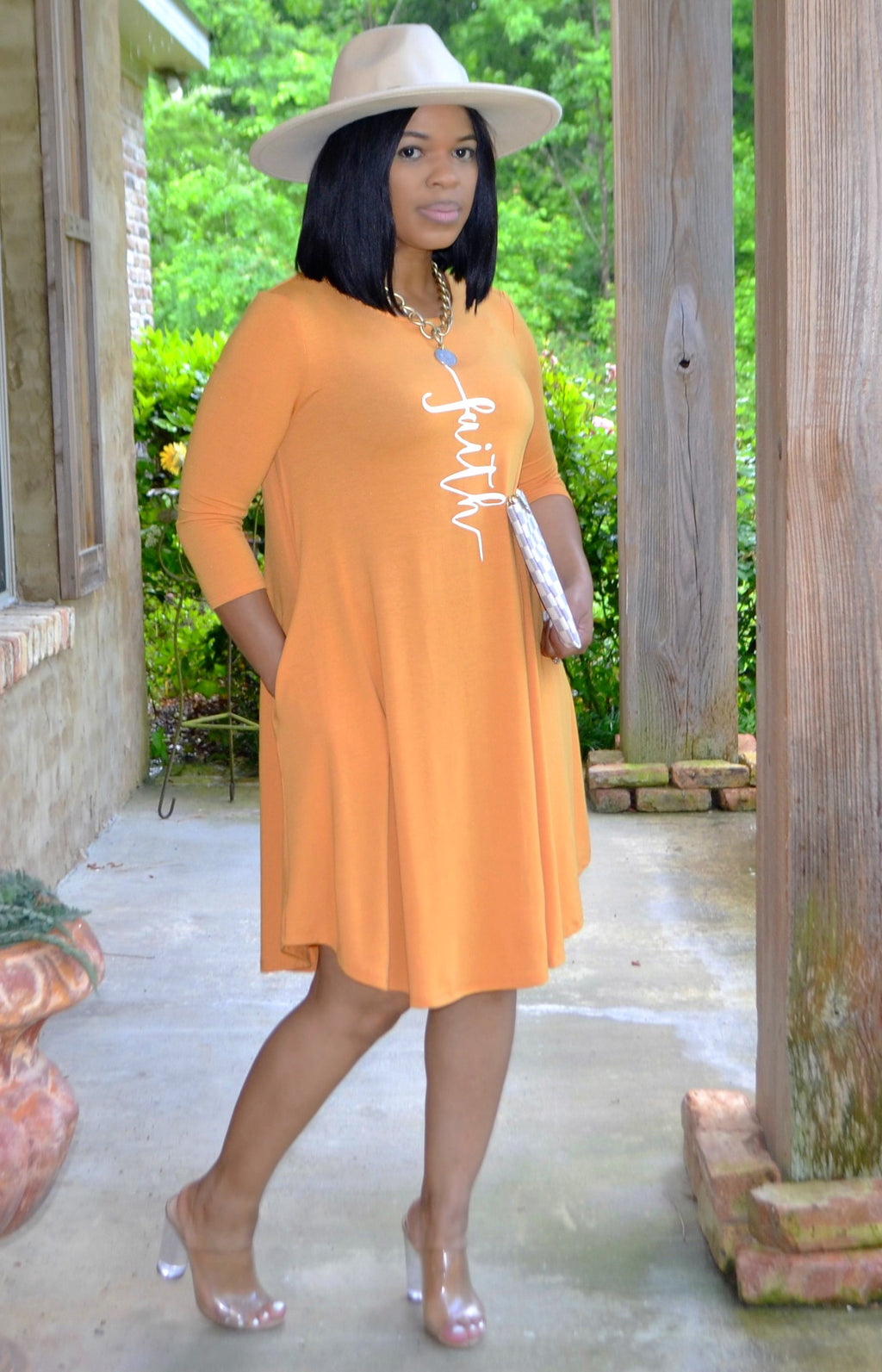 Faith Swing Dress- Mustard