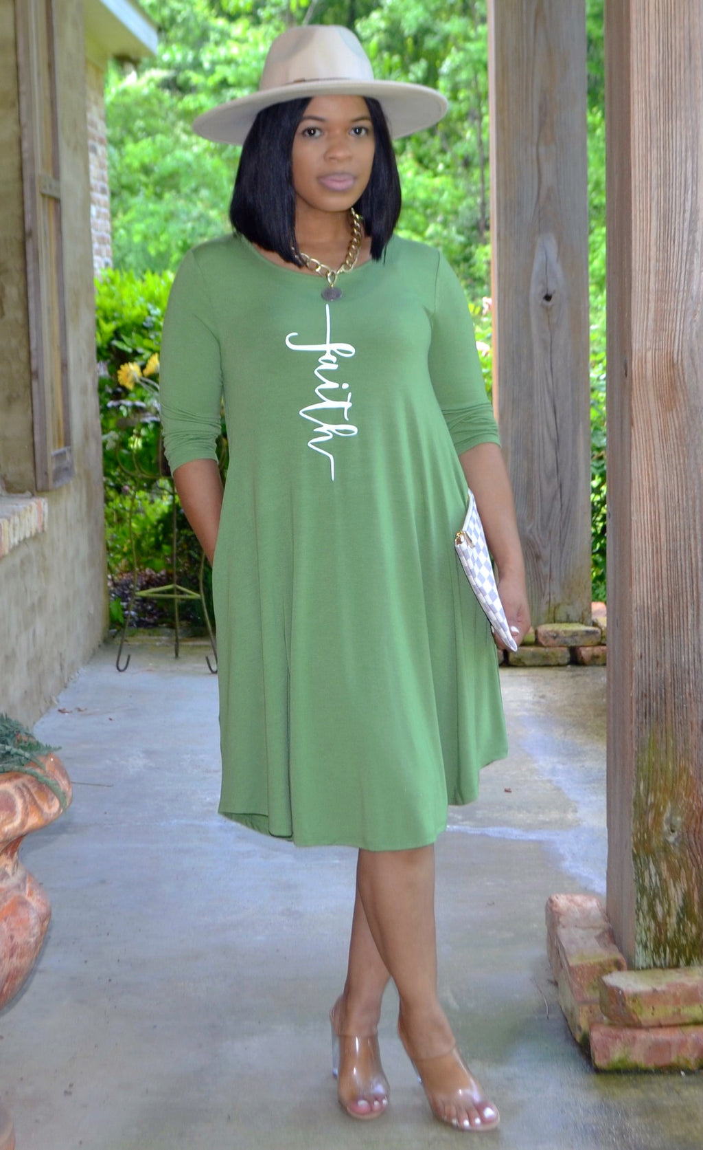 Faith Swing Dress- Kiwi Green