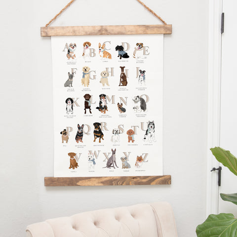 Dog Alphabet Hanging Canvas Nursery Art