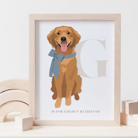 Alphabet Dog Breed - G is for Golden Retriever - BROWN