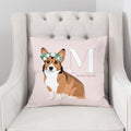 Pet Portrait Alphabet Art Pillow - Blush