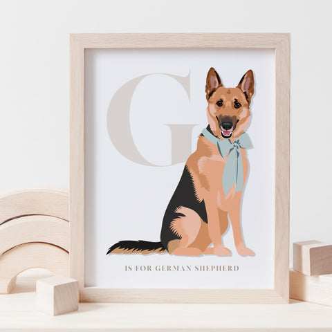 Alphabet Dog Breed - G is for German Shepherd
