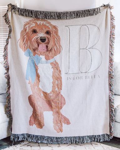 Alphabet Pet Portrait Woven Nursery Baby Blanket