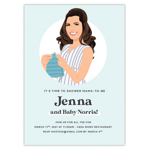 Baby Shower Invitation with Mama Portrait